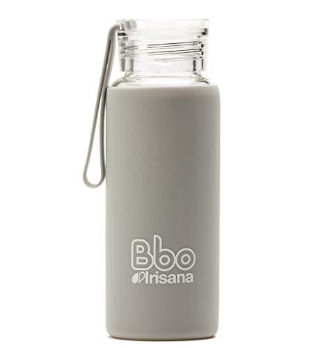 Irisana 72.Bbo4.Mini.Gr Botella De Borosilicato De 330ml con Funda De Silicona, Unisex niños, Gris, 330
