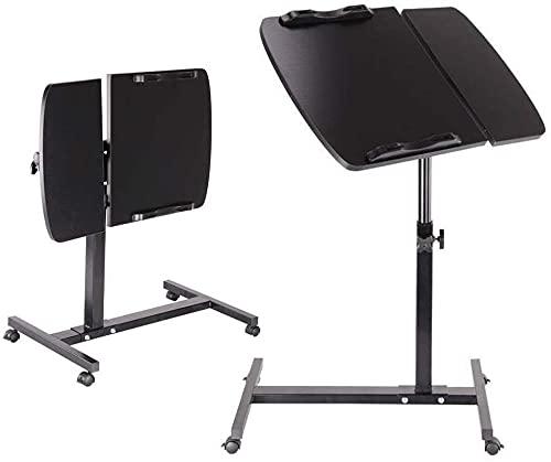 TYSJL Mesa de soporte para portátil móvil de 60 × 40 cm, altura de ajuste de 65 cm - 95 cm, 360 ° giratorio con rueda, diseño elegante moderno Estaciones de trabajo plegable de la computadora, escrito