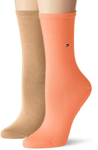 Tommy Hilfiger Damen Socken Th Women Sock Casual 2er Pack, Orange (Peach/Coral 015), 39/42