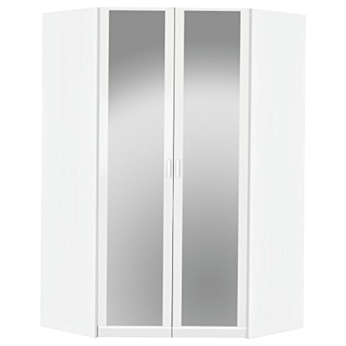 Rauch Möbel Bremen Eckschrank Kleiderschrank Schrank in Weiß mit Spiegel 2-türig inklusive Zubehörpaket Basic 1 Kleiderstange, 9 Einlegeböden BxHxT 117x199x117 cm