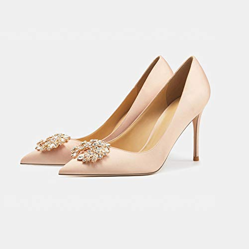 High Heel Damen,Hochzeitsschuhe Für Braut, Frauen Brautschuhe Noble Satin Diamant Sexy Spitz Stilettos Party Kleid Gericht Schuhe 8CM/3.2IN,Champagne,38