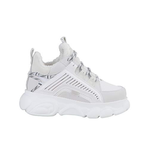 Buffalo Damen Sneaker CLD Hike, Frauen Low Top Sneaker, Women's Women Woman Freizeit Halbschuh schnürschuh strassenschuh,Weiß(White),39 EU / 6 UK