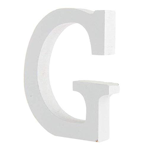 BIGBOBA Lettre de Bois Décoration 26 Lettres Blanches Lettre de Décoration DIY Nom de la Lettre Anniversaire Fête de Mariage Chambre à Coucher Décoration de la Maison (G)