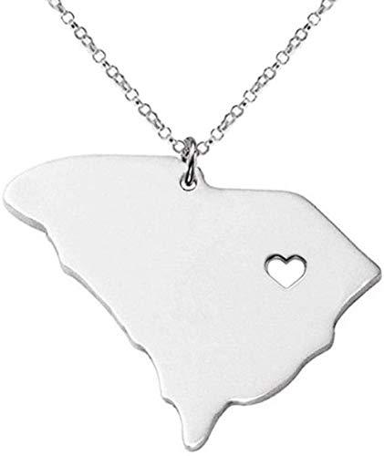 NC188 Collar de Mapa para Mujer Plata Acero Inoxidable Mapa de Carolina del Sur Corazón Ahuecado Collares Pendientes con Cadena de Plata Joyería de la Amistad Regalo para Mujeres