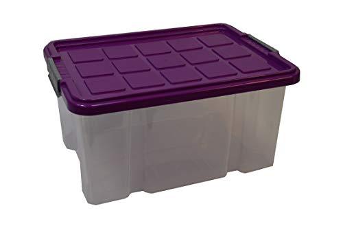 5X Stapelbox 15 Liter mit Deckel Aufbewahrungsbox Eurobox 40,5x29x20,5cm Unibox Lagerbox transparent Deckel farbig sortiert(Farbe nicht wählbar!)