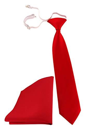 TigerTie Kleinkinder Kinderkrawatte + Einstecktuch in rot knallrot einfarbig Uni - vorgebunden mit Gummizug