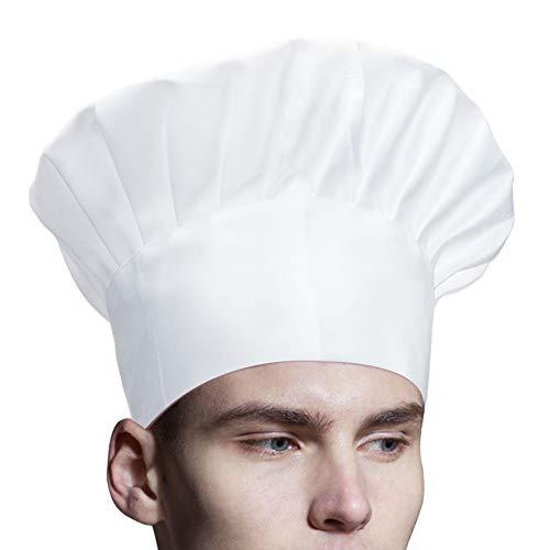 Jespeker Kochmütze Weiß Einstellbar Gummiband Kochhaube Klettverschluss Männer Frauen Küchenmütze Gastromützen zum Kochen Backen Grill