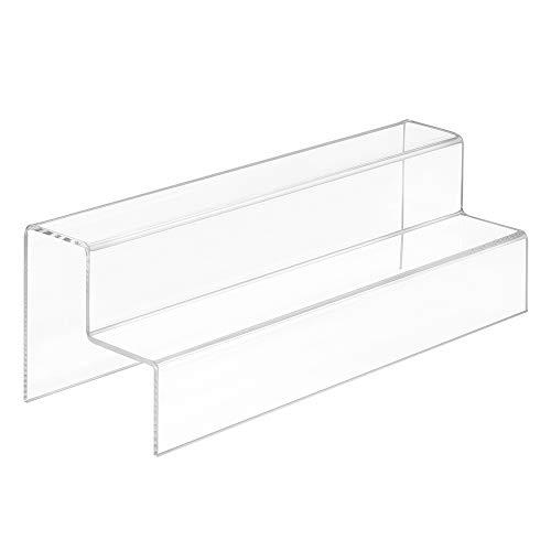 Dekotreppe 2-Stufig (300x100x100mm) aus glasklarem Acrylglas - Zeigis® / Stufendisplay/Präsentationstreppe/Treppendisplay/Treppenständer/Präsentations-Treppe/Warenträger/Acryl/Transparent