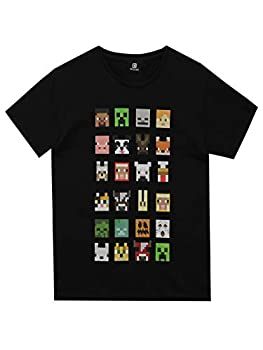 Minecraft Official Boys Sprites Characters T-Shirt  7-8 Years   Black