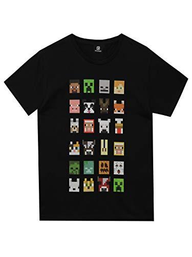 T-shirt per bambini e ragazzi, con i personaggi del videogioco Minecraft Black 11-12 Anni