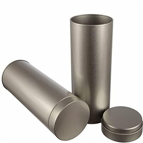 2 latas de café redondas plateadas para unas 20 cápsulas de café, de metal, para 200 g Earl Grey | 20 x 7 cm (alto, diámetro), también ideal como recipiente para guarniciones o especias.