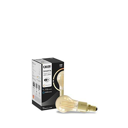 CALEX Smart Home - Bombilla LED con filamento dorado P45 E14 220-240 V 4,5 W 400 lm 1800-3000 K
