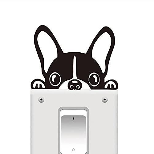 Nhhghagdh Divertido Bulldog Francés Interruptor De Luz Pegatina Ventana Vinilo Decorativo Calcomanías De Pared Animales Extraíbles Pegatinas De Arte De Pared Decoración Del Hogar