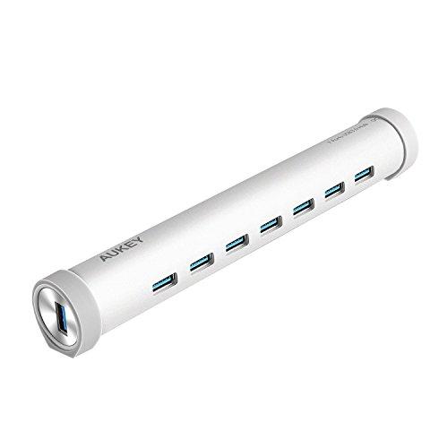 AUKEY USB C Hub auf USB 3.0 * 7 Port mit 20W Netzteil Aluminum für Geräte mit USB C Buchse wie neue MacBook 2015, ChromeBook Pixel und usw.