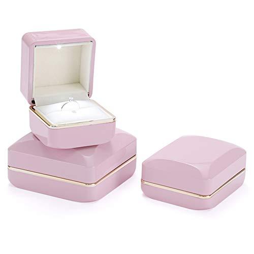 Kudiro Caja de 3 anillos para pulsera y pendientes, caja de luz LED es perfecta para tu propuesta, compromiso, novia o regalo de boda (rosa)