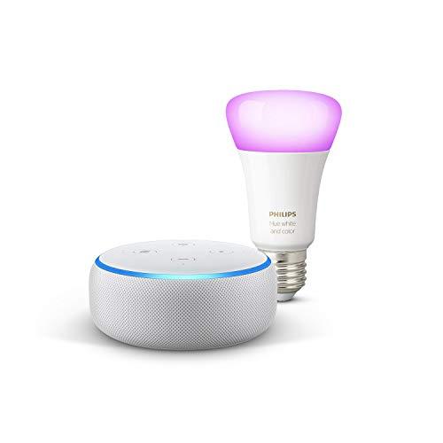 Echo Dot (3ª gen) - Tessuto grigio chiaro + Lampadine intelligenti a LED Philips Hue Color, compatibili con Bluetooth e Zigbee (non è necessario un hub), compatibile con Alexa