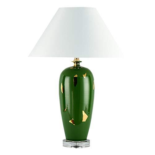 Lamparilla de noche Lámpara de mesa moderna decorativa Base de cristal de cerámica esmaltada de alto brillo y pantalla de tambor de tela for sala de estar Dormitorio Oficina Familia Lámpara Mesilla