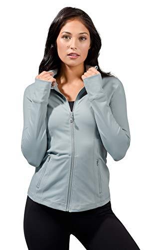 90 Degree By Reflex Women#039s Lightweight Full Zip Running Track Jacket  Slate  XL