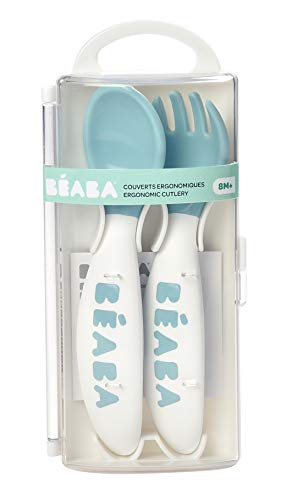BEABA Second Stage Ergonomic Baby Cutlery, Spoon & Fork with Travel Case, Peacock