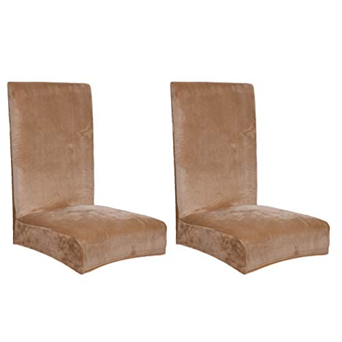 YOUJIAA Stuhlhussen Velvet Elastische Moderne Stühle Beschützer Herausnehmbarer Anti-Staub Hochzeit Bankett Deko (Kamel, 2pcs (Rückenlehnenhöhe:42-58cm))