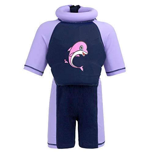 Gogokids Baby Mädchen Jungen Bojen-Badeanzug - Kleinkind Kinder Badebekleidung mit Schwimmbojen Einteiler Bojenanzüge Kurzarm Auftrieb Bademode UV-Schutz 1-7 Jahre