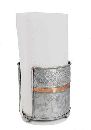 Autumn Alley Farmhouse Galvanized Counter Top Kitchen Paper Towel Holder | Handcrafted | Weighted Design and Warm Copper Accent Add Industrial Flair and OneHanded Functionality to your Counter