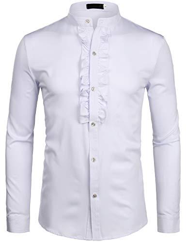 ZEROYAA Mens Hipster Ruffle Mandarin Collar Slim Fit Long Sleeve Casual Button Down Dress Shirts Tops Z69 White Small