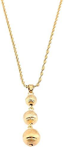 ZJJLWL Co.,ltd Collar Colgante de Cuentas de Color Dorado para Mujeres niñas joyería de Cadena de Bola Redonda Africana