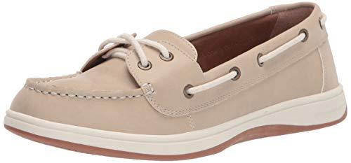 Amazon Essentials Women's Casual 2 Eye Boat Shoe on Comfort Outsole, Cream, 5 B US