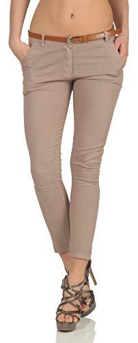 Malito Damen Chinohose mit Gürtel | Stretch Caprihose | schicke Freizeithose | Skinny - Slimfit - elegant 5388 (XXL, Fango)