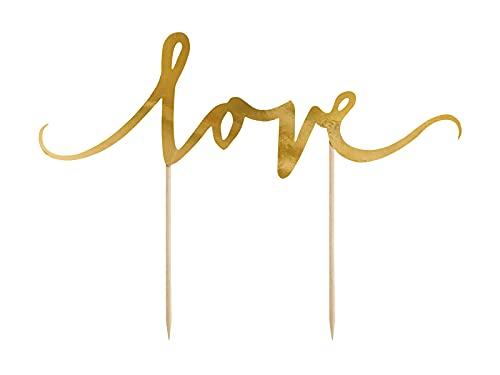 PartyDeco Tortenaufleger mit Love-Aufschrift Gold- Hochzeitstortenaufleger Valentinstag- Tortendekorationen Cupcake-Topper Cupcake-Topper Tischdekoration