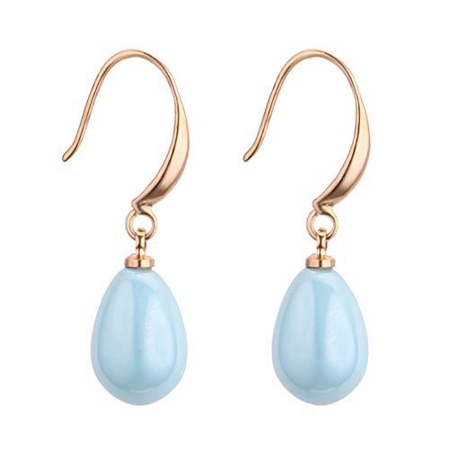 Moonring - Pendientes de perlas artificiales para mujer, diseño de gota de agua, regalo de cumpleaños o aniversario As description show Azul Marino