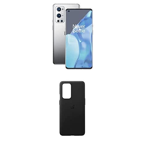 OnePlus 9 Pro 5G Smartphone con Fotocamera Hasselblad, 8 GB RAM + 128 GB, Grigio (Morning Mist) + Pro Sandstone Bumper Custodia, Nero [Esclusiva Amazon]