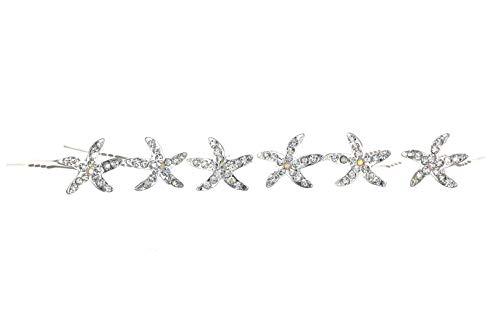 Set of 6 Starfish Sea Star Rhinestone Crystal Hair Pins H032
