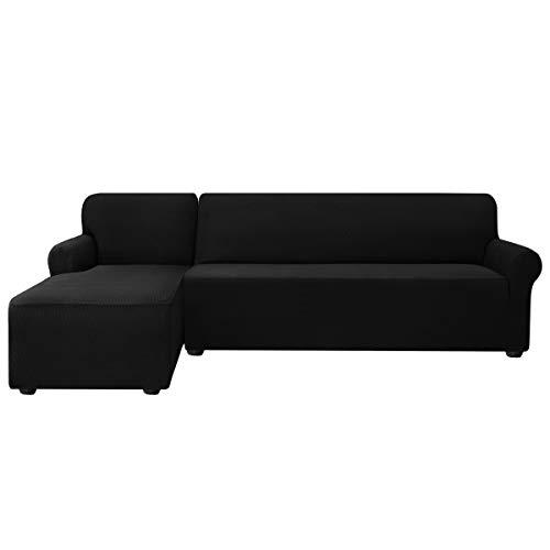 subrtex Sofabezug L Form Stretch Sofahusse Ecksofa Elastisch Antirutsch Eckcouch überwurf Weich Stoff Abwaschbar (Links 2 Sitzer, Schwarz)