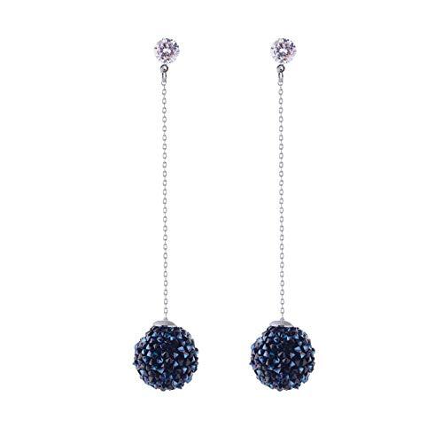 RONGW JKUNYU - Pendientes de gota para mujer, diseño de aguja de plata 925, hipoalergénicos, temperamento, largos y simples, con bola de diamante completa, grandes pendientes, regalos