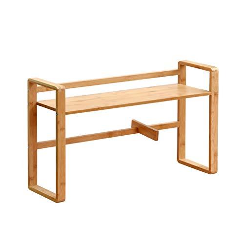 Independiente decorativo Estante de estantería, estante de escritorio Estante de almacenamiento de libros de oficina de madera maciza de doble capa para estudiar, sala de estar Organizador de almacena