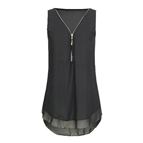 JUTOO Women Loose Flowers Chiffon Sleeveless Tank V-Neck Zipper Hem Scoop TShirts Tops(AA-Schwarz, EU:34/CN:S)
