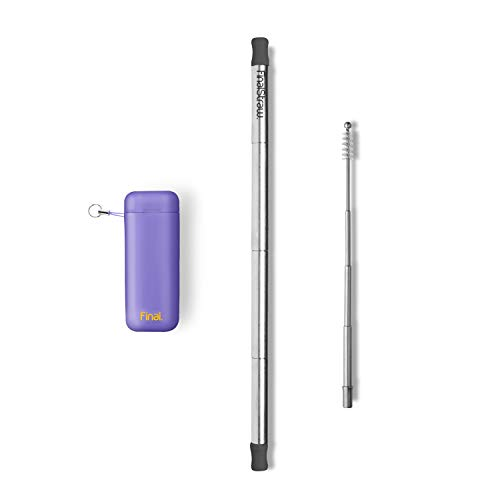 FinalStraw Collapsible, Reusable, Metal Straw | Travel Case, Cleaning Tool | Easy to Clean | Stainless Steel and 100% Silicon Tips | Eco-Friendly | Porpoise-ful Purple Case, Silver Stainless Steel