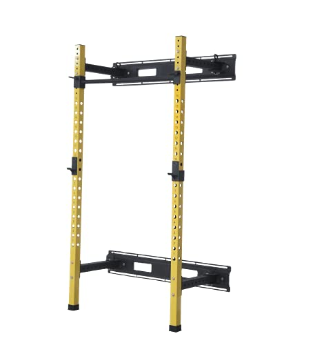 HulkFit Wall Mounted Power Cage with Adjustable Pullup Bar and Free J-Hooks - Yellow