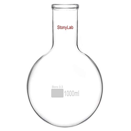 stonylab 1000ml Langem Hals Rundkolben aus Borosilikatglas, Kolben mit Langem Hals aus Schwere Wand RBF, Round Bottom Flask Labor Glaskolben - 1000ml (1L)