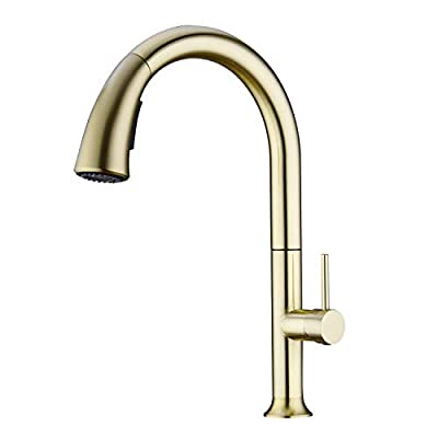 WENKEN Kitchen Faucet, Champagne Gold Kitchen Faucet with Pull Out Sprayer, 360 Degree Swivel High Arc Pre-rinse Brass Kitchen Faucet Gold