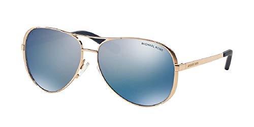 Michael Kors MK5004 CHELSEA Aviator 100322 59M Rose Gold-Tone/Purple Mirror Polarized Sunglasses For Women +FREE Complimentary Eyewear Care Kit