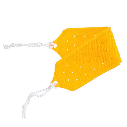 Healifty Silicone Loofah Body Scrubber Bath Brush Loofa Back Scrubber for Shower Massaging Spa Yellow