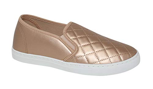 Anna Home Collection Women's Slick Ligh Weight Comfort Slip On Quilted Fashion Sneakers, Rosegold, 8