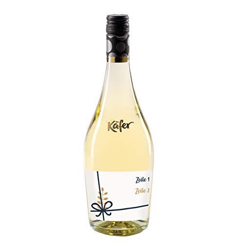 Herz & Heim® Feinkost Käfer Secco Bianco Frizzante in einer formschönen Flasche mit personalisiertem Etikett (weiß trocken) 750 ml Schleife