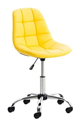 Silla de escritorio amarilla en cuero sintético