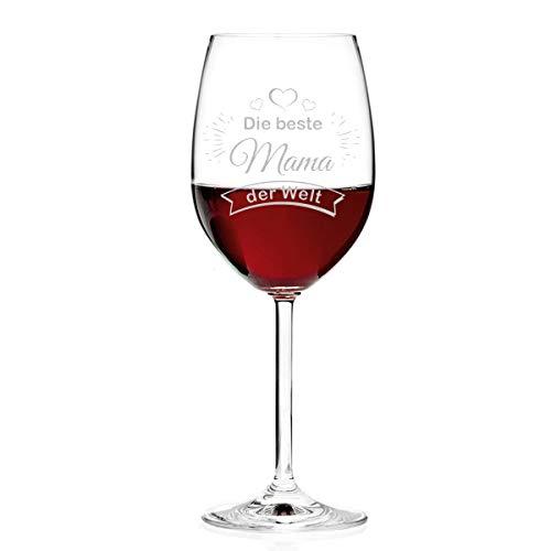 Leonardo Weinglas Personalisiert mit Gravur - Die Beste Mama der Welt - Rotweinglas 460ml Geschenk für Mama als Muttertagsgeschenk - Geburtstagsgeschenk
