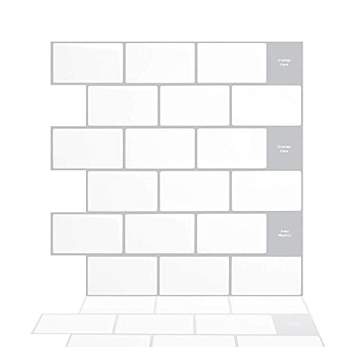 Tic Tac Tiles 30 cm x 30 cm 5 Láminas, 3D Azulejos Adhesivo Metro Azulejos de la pared para Cocina y Baño - Blanco ladrillo azulejos mosaico (Borde gris)