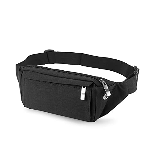 Fanny Pack for Women and Men with 4-Zipper Pockets Waterproof Running Belt bag Casualall Waist Packs Fits All Phones (Black)